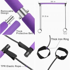 Freerunning Portable Pilates Bar Kit with Resistance Band Yoga Exercise Pilates Bar with Foot Loop Toning Bar Yoga Pilates for Yoga,Stretch,Twisting,Sit-Up